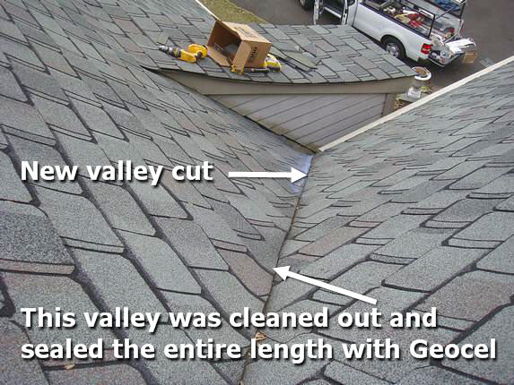Roof valley leak fixed