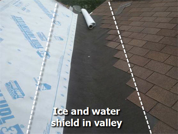 Ice and water shield installed