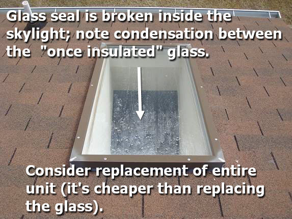 Skylight with broken glass seal