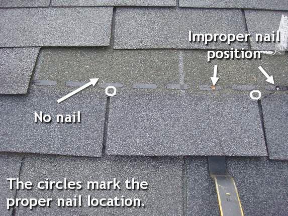 Improper roof nailing