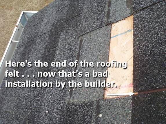 Roofer Goof - no tarpaper underlayment