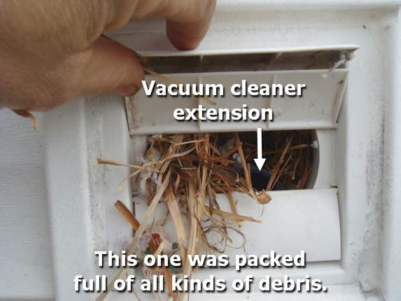 Vent clogged with debris