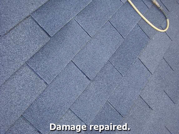 Shingles match existing roof