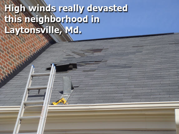 Shingles blown off steep roof