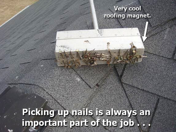 Roof magnet picks up stray roof nails