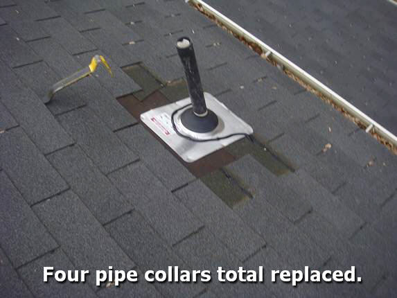 All pipe collars replaced