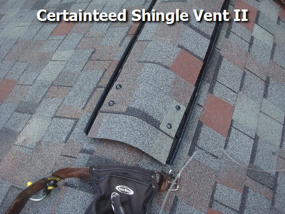 Shingle over ridge vent