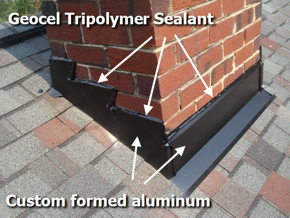 Custom made chimney flashing