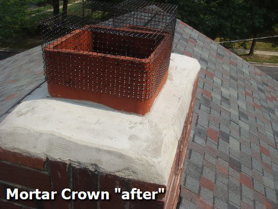 Chimney mortar crown repair