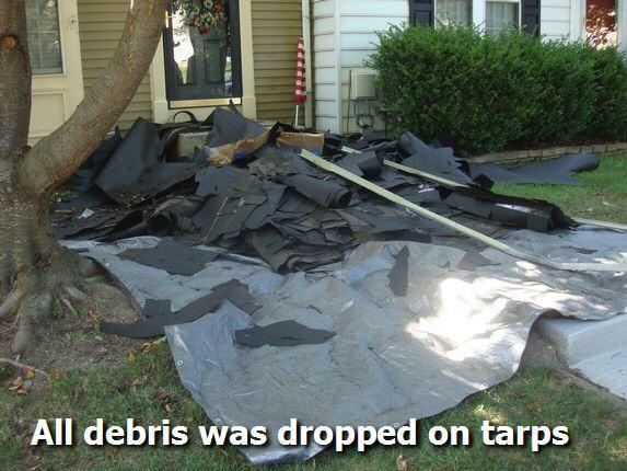 Roofing Tarp on ground