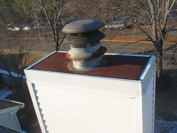 Chimney crown flashing contained
