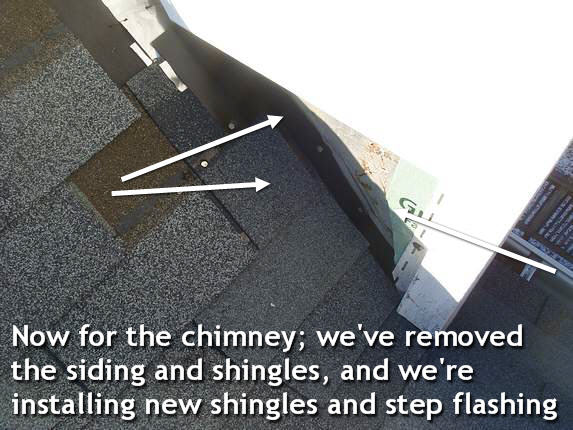 Step flashing on chimney cricket