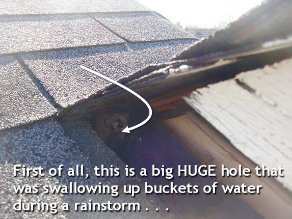 Big roof leak