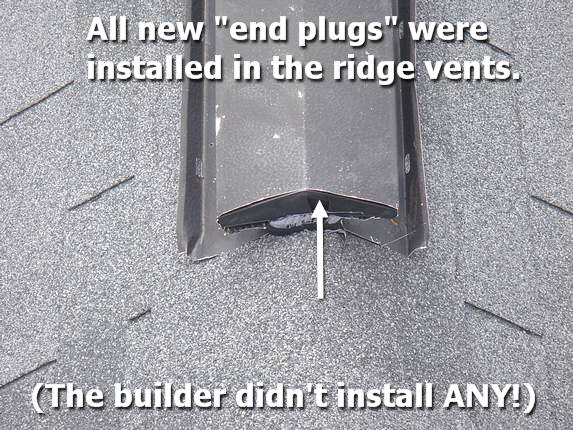 Ridge vent end plug