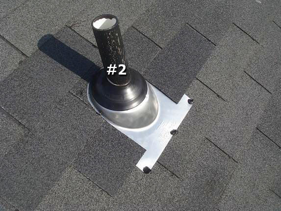 Shingles around pipe flange