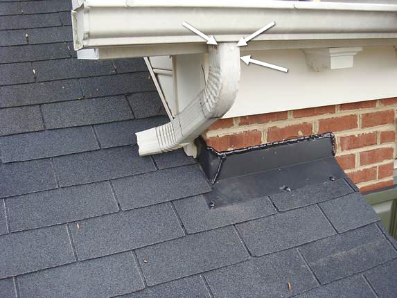 Downspout attached properly